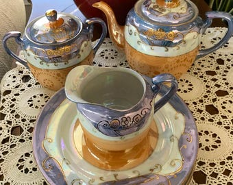Lusterware Tea Set-10 pieces-Teapot, Lidded Sugar Bowl, Creamer, 5 Plates,Japan 3 Color Bands of Peach, Blue, White With Gold Swirl Detail