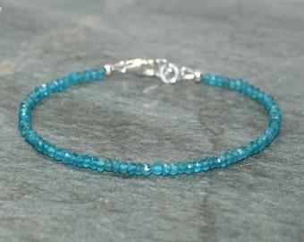 Neon Apatite Bracelet, Sterling Silver, Apatite Jewelry, Minimalist, Layering Bracelet, Gemstone Jewelry