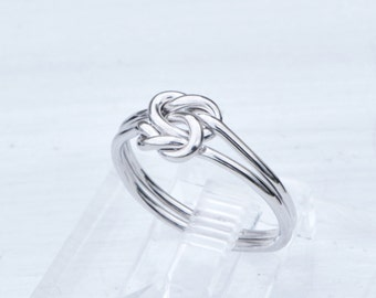 Double Love Knot Ring, Silver Love Knot, Stack Ring, Knot Promise Ring, Love Knot Jewelry, Friendship Ring, Knotted Rings, Gift For Her