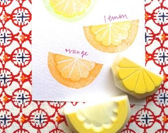 citrus rubber stamps | lemon orange lime | fruits stamp | diy summer card making | fabric stamping | hand carved by talktothesun | set of 2