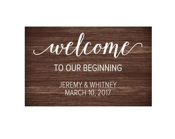 Personalized Welcome to our Beginning Vinyl Decals, Wedding Welcome Sign, Wedding Decal, Personalized Wedding Decals, Wedding Sign