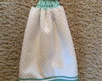 Crochet Top Towel  - White - Teal - Hanging Kitchen Towel - Double and Reversible