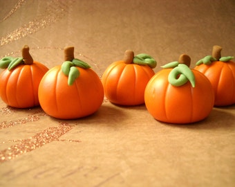12 Harvestime Fondant Pumpkins for Cakes and Cupcakes