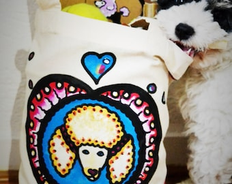 GiftBag,Art Print,Poodles,Handmade,Canvas,Giftcard,Unique,Handpainted,Dogs,Bags,Original,GiftCard