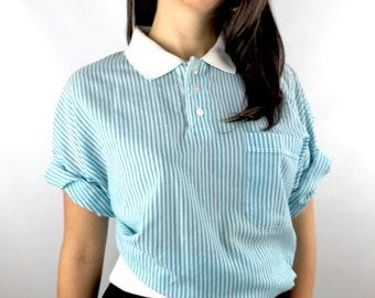 Vintage LANVIN PARIS baby blue and white striped semi sheer polo shirt