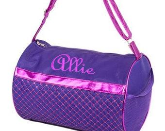 PERSONALIZED Purple & Pink Metallic Sequin Dance, Gymnastics Cheer Bag Tote