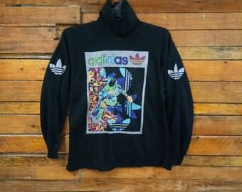 Rare Vintage Adidas Turtleneck Sweatshirt, Size M, Vintage 90s Adidas, Hip Hop, Street wear