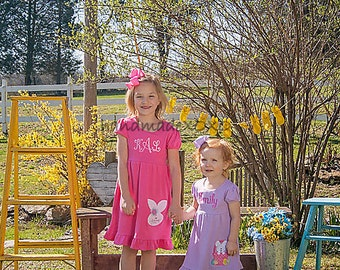 Personalized Easter Dress-Cotton Ruffle Dress-Made to Match Sibling & Doll Dress-Bunny AppliqueDress-Name Or Monogram included