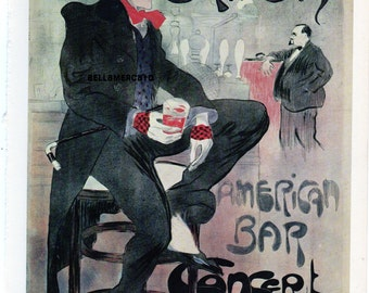 French Poster - Le Grillon - 1899 Jacques Villon - The Amercan Bar in France Elegant Dandy at the Bar  1968 Reproduction Print 8-1/2 x 12