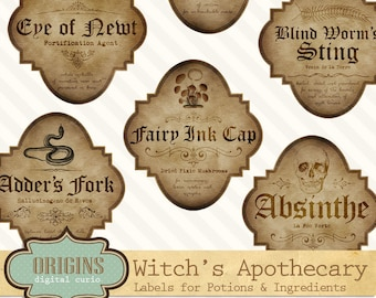 Apothecary Magic Potion Ingredient Labels Customizable Label Template