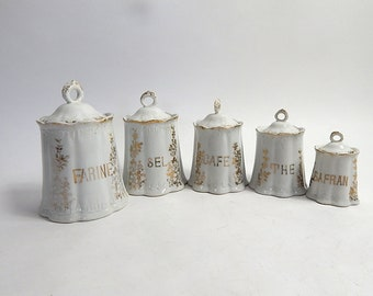 5 French Antique Porcelain Canisters Complete Set with Lids