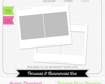 5 x 5 Square Bunting Pendant Flag Banner Template - INSTANT DOWNLOAD - PRINTABLE - Make your own party printables