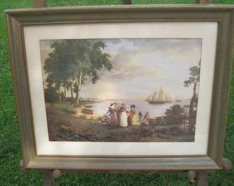 View of the Delaware near Philadelphia by Thomas Birch, 1831 Vintage Art Print Framed