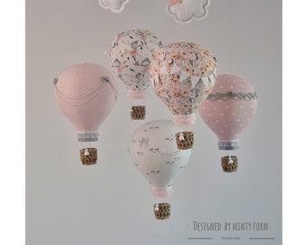 Blush Pink Gray White Hot Air Balloon Mobile Travel Theme Nursery Decor Custom Mobile Ballet Ballerina Star