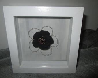 White 3D frame with nylon flower inside, black and copper