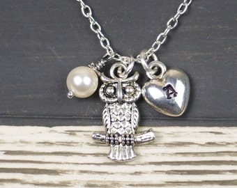 tiny owl necklace, sterling silver filled, initial necklace, Swarovski pearl choice, cute owl, birthday party, bridesmaid, gift for friend