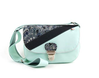Small satchel womantunic Mint blend fabric, edged with silver piping and synthetic leather