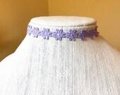 Purple Flower Choker, Adj...