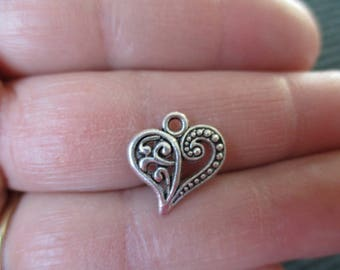 Set of 10 Heart Shaped Charms