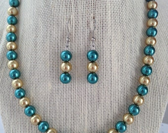 Teal and Gold Wedding Pearl Necklace Set, Teal Bridesmaid Jewelry, Gold Pearl Wedding Jewelry, Bridesmaid Gift, Teal Gold Beaded Jewelry