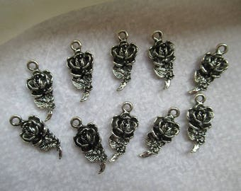 PENDANTS ROSES embossed Silver set of 10 units for creations pendants