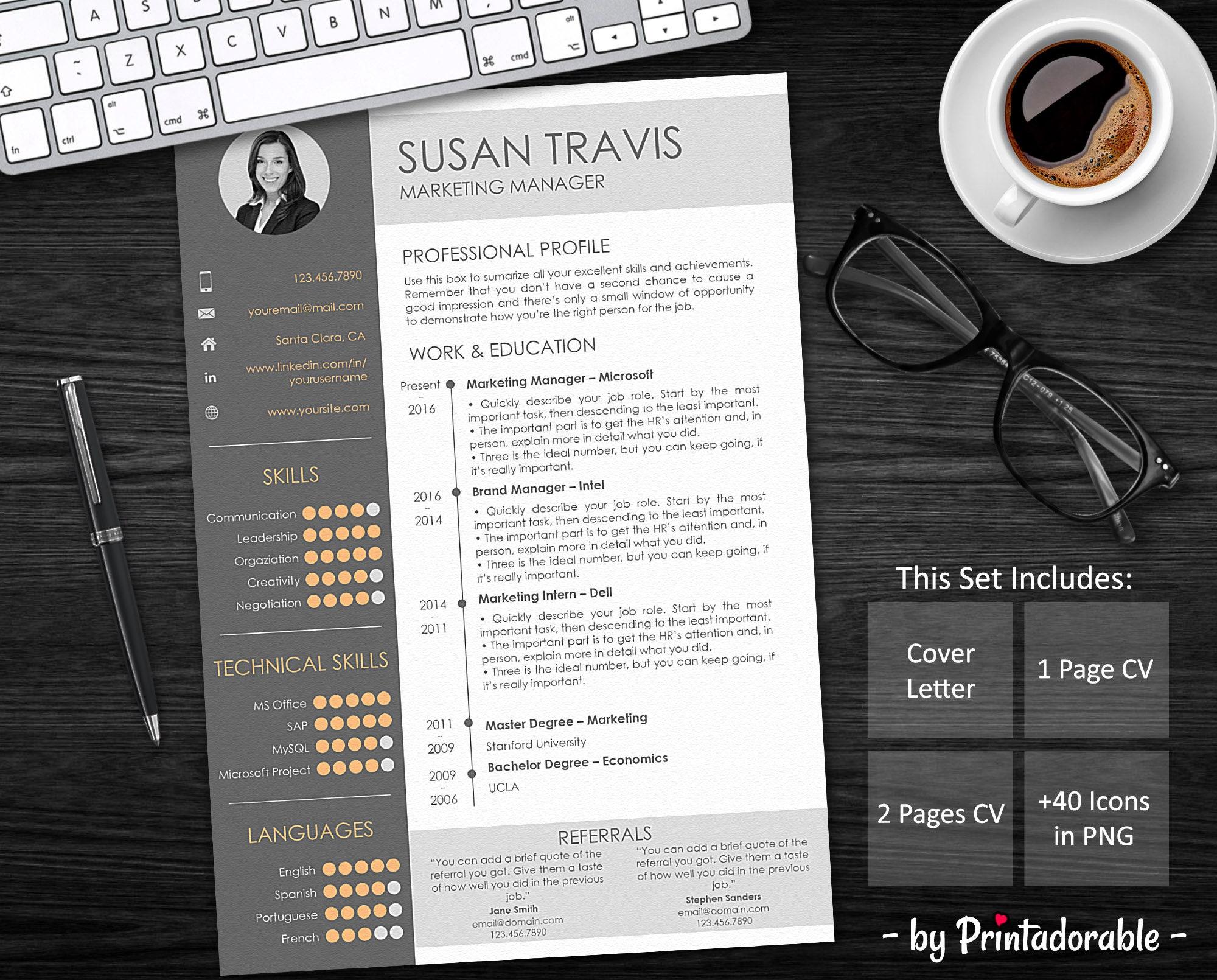 Resume Template - CV Template - Professional Resume - Resume Design ...