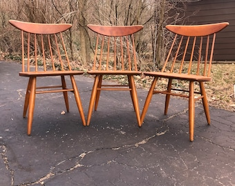 Set Of 3 Vintage Mid Century Modern Dining Chairs By Russel Wright For Conant  Ball