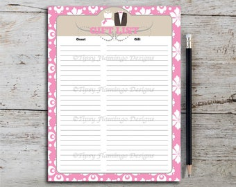 Gift List Bridal Shower Gift Registry Party Game Purple