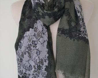 SALE 11.99 Lace Print Lightweight Wrap Shawl Scarf, fashion scarves, Women's shawls, Boho, Lace Print Pretty Shawl