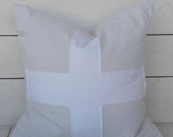 Swiss Cross Pillow, available in 16x16, 18x18, 20x20 or custom