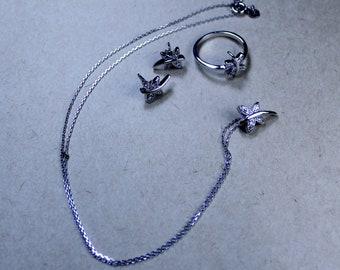 dragonfly silver set (925 adjustment, zircon stone)