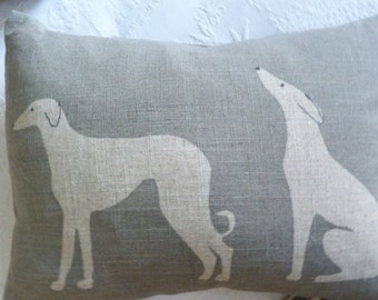 hand printed linen  double hound cushion