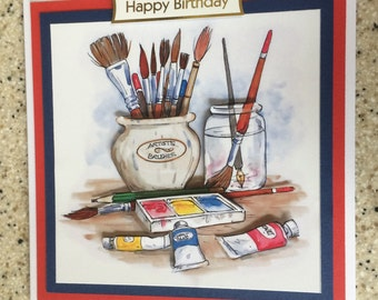 "Handmade  Happy Birthday 3D decoupage artist, painter, painting hobby card 6"" x 6"""