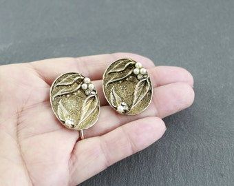 Clip on earrings, gold coloure costume jewellery vintage Art Nouveau style bronzed faux pearls and diamonds large statement earrings