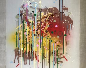 Mixed Media - Composition 4, Mixed Media Art, Silkscreen, Painting, Abstract, Acrylic, Spray Paint, Mylar, Colorful, Home Decor