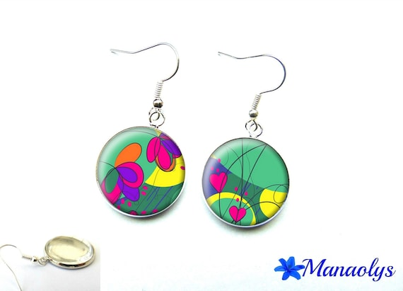 Patterns and flowers earrings multicolored 2032 glass cabochons