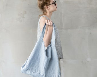 Large bluish grey linen tote bag / linen beach bag