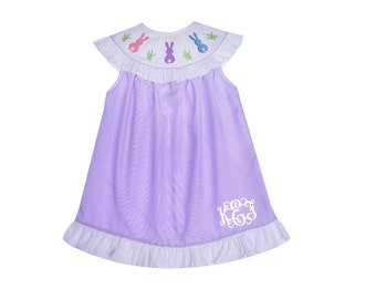 SALE! Ready to ship! Boutique Girls / Baby Spring Easter Bunny Embroidered Dress  with Name