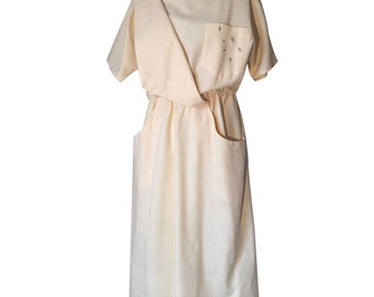 1980's Linen Tunic Dress Loose Fit Oversized Pockets Shirt Dress Minimalist