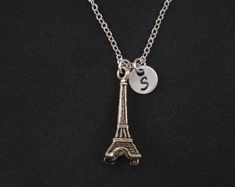 Eiffel tower necklace, sterling silver filled, initial necklace, Eiffel tower paris, travel to Paris, Eiffel lover gift, mother gift, kids