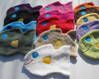 READY TO SHIP Wash Mitt in a fun fish shape and bright colors Great Baby Shower Gift