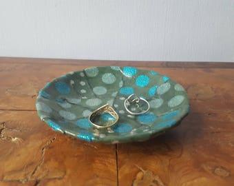 Green Ring Dish, Decoupaged Ring Dish, Ceramic Ring Dish, Upcycled Dish, Gift For Her.