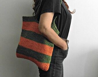 block colors shoulder bag, Raffia shopping bag, crochet tote bag green and orange, crochet beach bag, gift for mom vegan mother's day gift