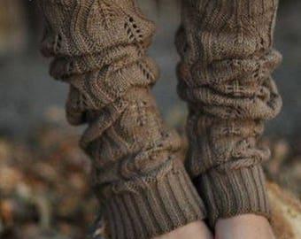 Soft Stretch Brown Crochet Knit Lace Trim Bohemian Boho Warm Leg Warmers Slouchy Boot Socks Grace Cream
