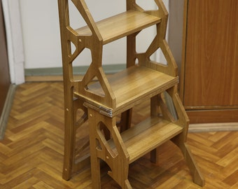Exceptional Step Stool Chair   Chair Ladder   Step Ladder   Foot Stool   Wood Step Stool