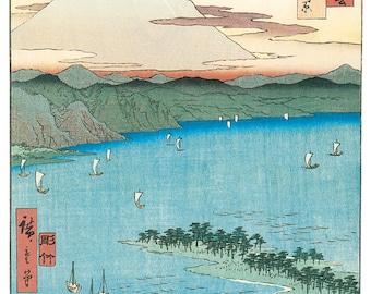 Hand-cut wooden jigsaw puzzle. PINE BEACH JAPAN. Hiroshige. Japanese woodblock print. Wood, collectible. Bella Puzzles.