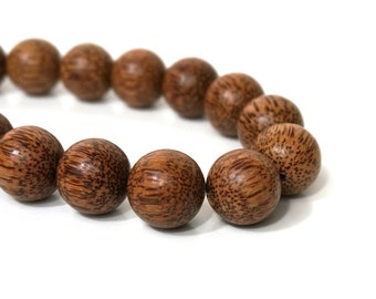 20mm Palm Wood Beads Round Natural Brown Woodgrain (1020R)