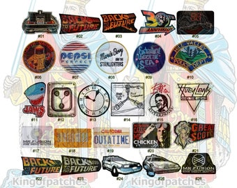 Back to the Future Embroidered Patches Trilogy Movie Time Machine Flux Capacitor Mr Fusion Dr Brown Licence Plate Car Huey Lewis Marty McFly