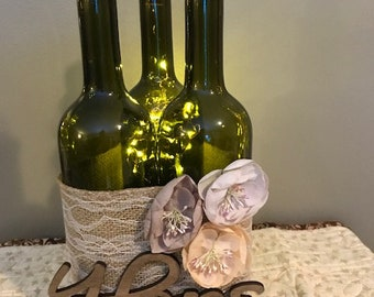 Lighted wine bottle trio set