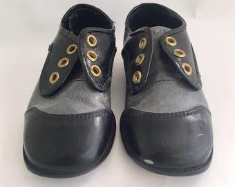 Vintage 1960s Toddler Boys Child Flex Faux Leather Oxford Shoes 8